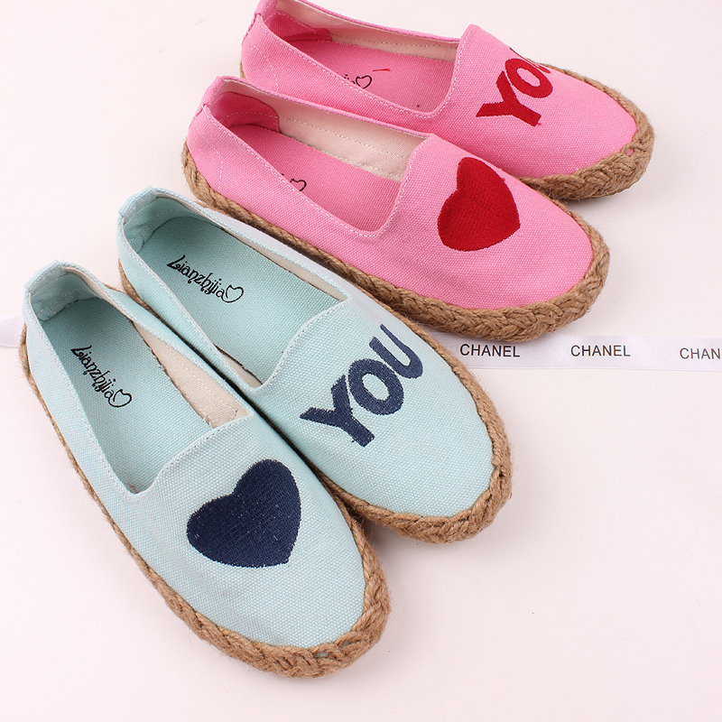 Cbomb love u rattan linen embroidery paragraph cotton-made shoes x50(China (Mainland))