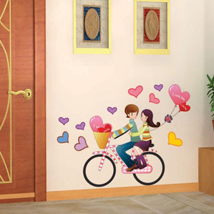 Bicycle lovers wall stickers romantic background wall applique wall decoration sticker(China (Mainland))