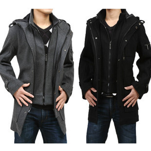 2013 spring male woolen outerwear medium-long woolen overcoat male fashion faux two piece wool coat outerwear(China (Mainland))