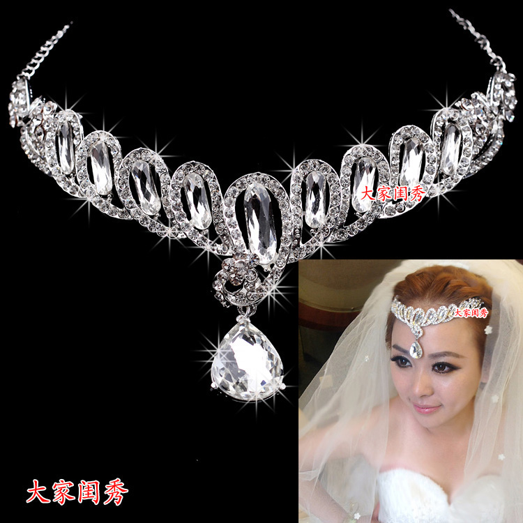 2013 bride hair accessory married the eyebrows wedding accessories rhinestone dual necklace(China (Mainland))