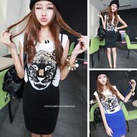 Summer 2013 summer women's fashion tiger print short-sleeve T-shirt slim hip skirt casual set