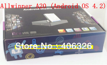 Wholesaler-5k Stock A19 Andriod TV Box AllWinner A20 Dual Core Android 4.2 1G 4G HDMI VGA AV Output black