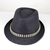 Spring and summer fedoras rivet decoration strawhat male women's jazz hat straw braid hat small fedoras