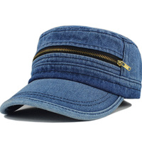 Denim military hat cadet cap male women's lovers design cap retro finishing zipper hat