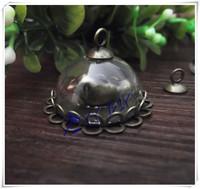 Free shipping! 20set/lot 20mm glass half globe with base&cap&bird / DIY Glass bubble vial pendant