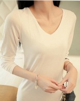 Women basic shirt modal long-sleeved t-shirt solid color slim V-neck