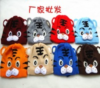 10Ppcs/lot Popular Baby Cotton Hat Tiger Cute Cap Cartoon Baby Crochet Beanie Infant Knitted Cap Free Shipping 8 colors