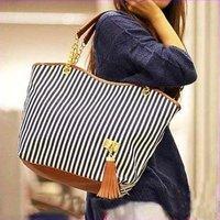New Street Striped Candid Tote Shoulder Bag Handbag Linen