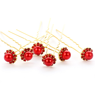 Colour bride white red single-bead classical hair stick accessories hair maker child wedding hair accessory marriage accessories(China (Mainland))