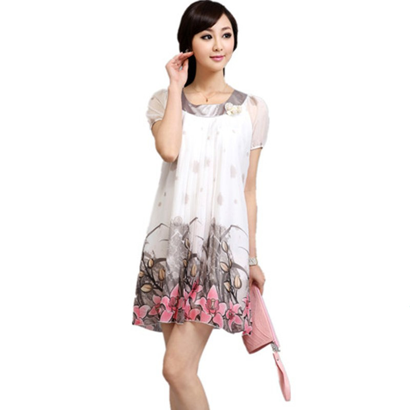 Maternity clothing summer one-piece dress skirt fashion cool chiffon one-piece dress short-sleeve skirt(China (Mainland))
