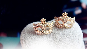 2013 Stud Earrings for Women! Lovely 18K Gold Plated Bohemian Mask Crystal Earring for Women Girl! Free Shipping , AAA Quality