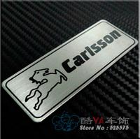 "Free Shipping ""Carlsson"" Aluminium Plate Tuning Stylish Label Car Labels"