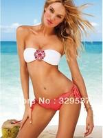 Metal Flower Women vs Bikini Swimwear&Swimsuit Bathing suits Beachwear With Inside Pads Spaghetti bikini 2 Colors Free shipping
