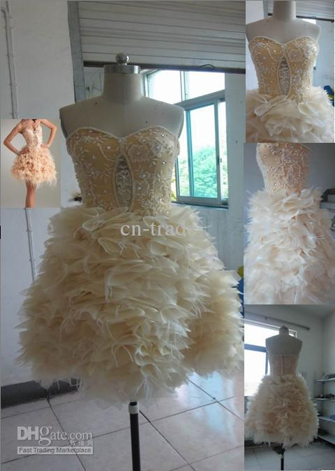 Cheap Prom dresses Nude Lace Sweetheart Beaded Feather Ball Dress 2012 Sexy Dress PED496 cn-trade(China (Mainland))
