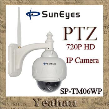10pcs/lot SunEyes Outdoor Wireless Weatherproof  720P PTZ Dome IP Camera Wifi Network CCTV Camera SP-TM06WP