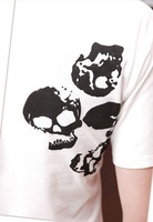 Free shipping 2013 new retro print coat men round neck T-shirt men summer skull print T-shirt
