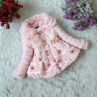 Good quality hot sale girls winter warm coat flower fur kids coats pearl bow lace wool children coat new year coat 4PCS