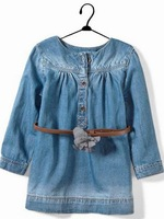 5pcs/lot children kids denim dress girls long sleeve dress with flower belt jeans c0012