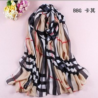 Free shipping fashion 2013 chiffon scarvesl stripe printing pashmina women shawl many color for choose