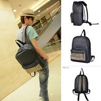 NEW Style cool punk gold spiky backpack stud bag school bag hobo men women unisex bag hot