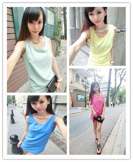 Women's 2013 summer fashion all-match candy color slim double layer chiffon shirt basic sleeveless small vest(China (Mainland))