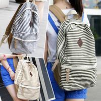 Fashion Women Ladies Backpack Canvas Stripe Leisure Bags