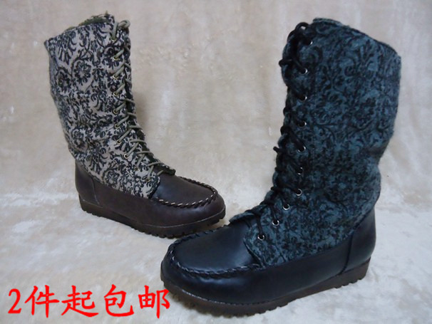 Fashion plus size shoes trend mermaid national medium cut boots boat boots paltform medium-leg boots(China (Mainland))