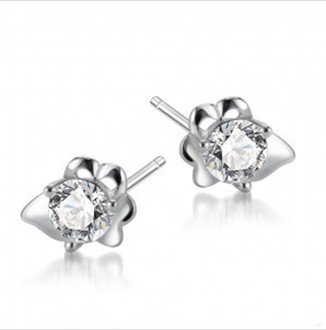 Free Shipping 925 Sterling Silver Stud Earrings For Girls With CZ Rhodium Plating Best Gift Ideas Flower Wholesale(China (Mainland))