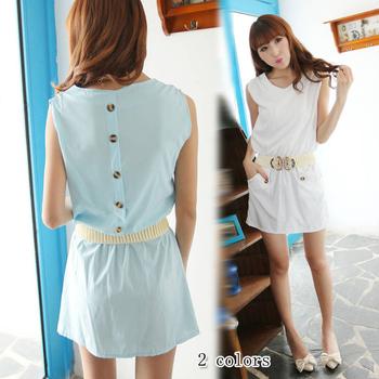 NEW ARRIVAL 2013 summer women's sweet w2018 brief button back sleeveless one-piece dress belt  FREESHIPPING