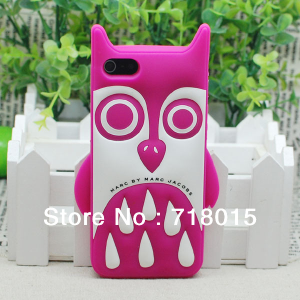 Free Shipping!High Quality Rubber Owl Dog Back Cover case Cartoon Design Silicone Case for iphone 5 5G 4g 4s 4 retail package(China (Mainland))