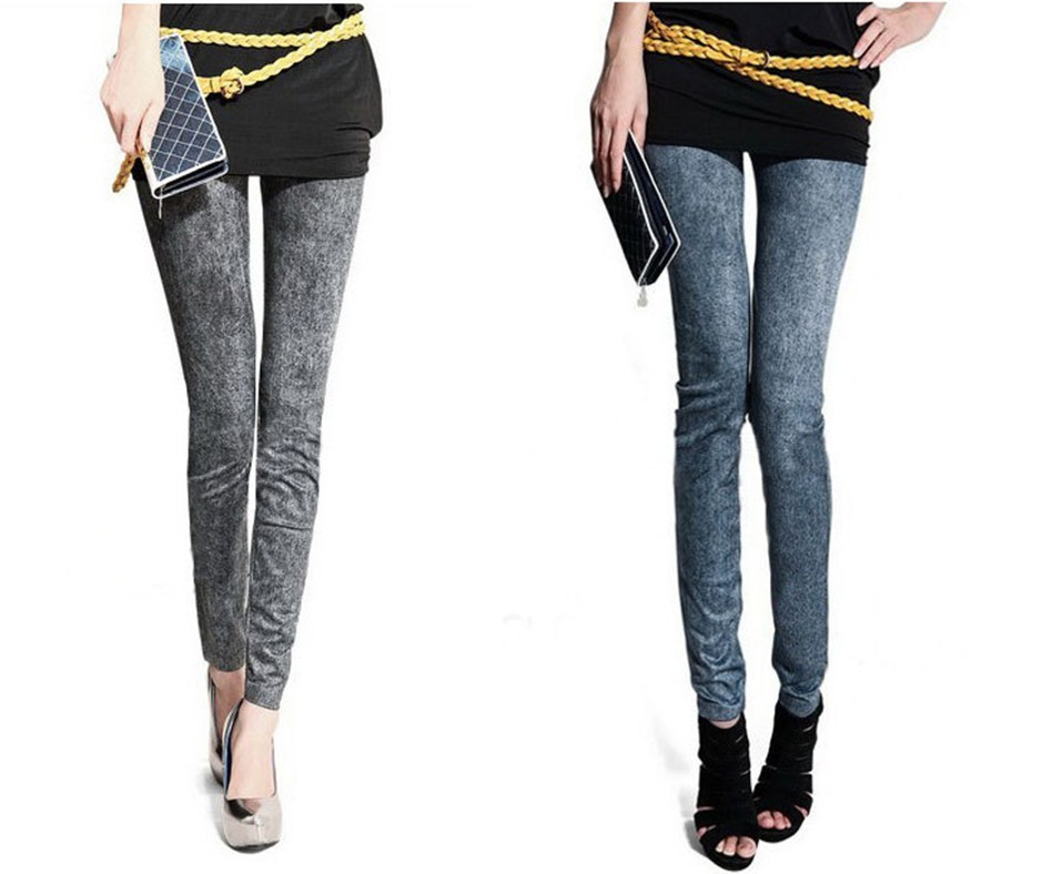 2013 new Leggings female Korean high waist seamless snowflakes Denim Leggings female pantyhose was thin 10pcs(China (Mainland))