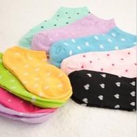 Specail OFFER!! Cute  women's summer sock slippers heart +  candy color cotton low cut ped sock sz:34-39
