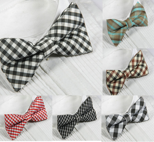 Quality male bow tie gown collar plaid series(China (Mainland))