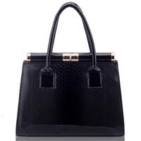 Metal Box Clasp Handbag Fashion Designer Animal Office Formal 4 Colors Patent Leather Turn Lock Woman
