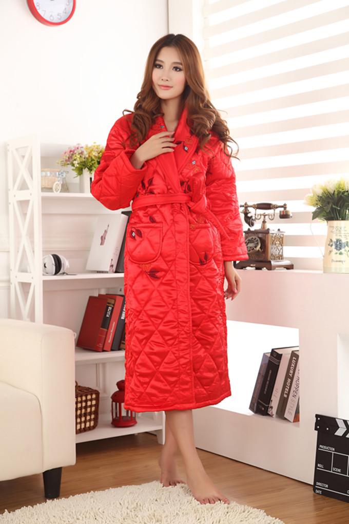 Winter Women robe faux silk thickening coral fleece bathrobe lounge(China (Mainland))