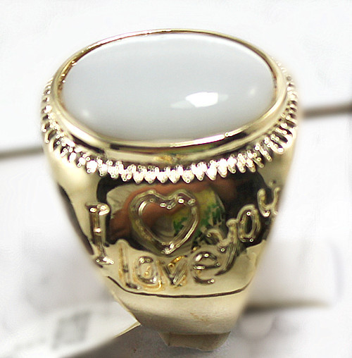R00013 New Fashion 18K Gold Plated Jade Ring(China (Mainland))