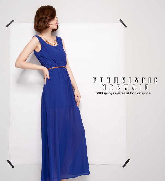 7914 2013 summer women&#39;s o-neck vest chiffon long dress 3 belt Free shipping(China (Mainland))