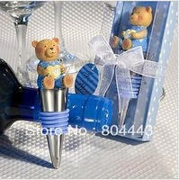 Factory directly sale 16pcs/lot Wedding Favors Wine Bottle Stoppers blue Pink Teddy bear Bottle Stoppers baby shower gifts