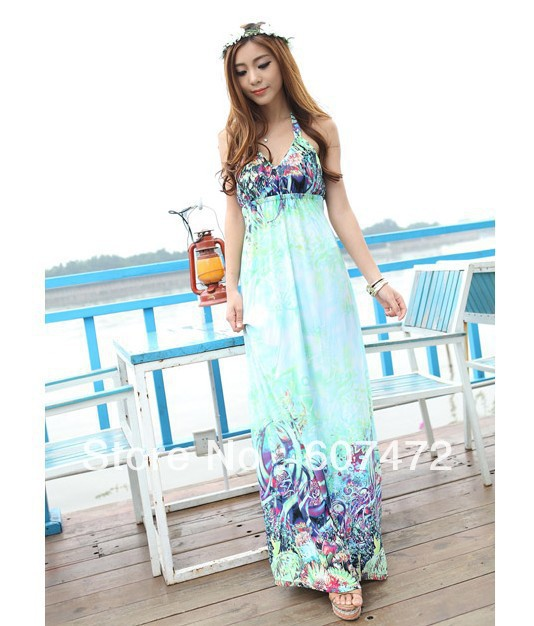 2013 Women Summer Bohemia Ankle Length Dress Deep V Neck Halter Dress Sexy Maxi Dress Freeshipping(China (Mainland))