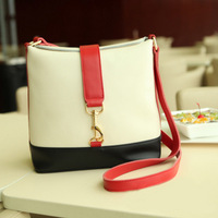 2013 motorcycle bag school bag candy color block genuine leather quality bucket bag messenger bag handbag women's