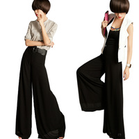 Summer 2013 women's slanting stripe yarn chiffon wide leg  culottes pants feet casual long trousers 2010