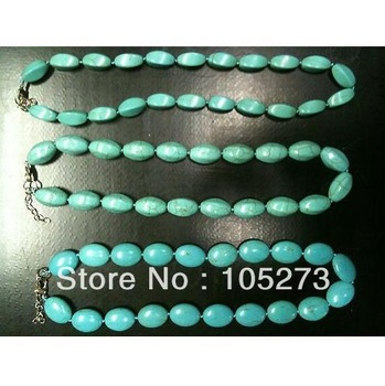 Charming Turquoise Jewelry Handmade Blue Color Mixes Shaper Turquoise Bead Necklace 6-20mm 18'' Fashion Jewellery 3pcs/lot N1063