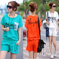 2013 t-shirt shorts women's letter sportswear sports set summer casual set free shipping