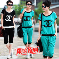 Women's summer sportswear female capris casual set summer short-sleeve sports set Women summer