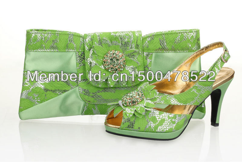 Free shipping!Italy Lemon green matching shoes and bags for party,wholesale and retail,PU Material pumps shoes, SB8707(China (Mainland))