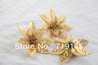 100pcs 8cm gold christmas wedding decoration artificial flower gold arch flower silk flower bouquet
