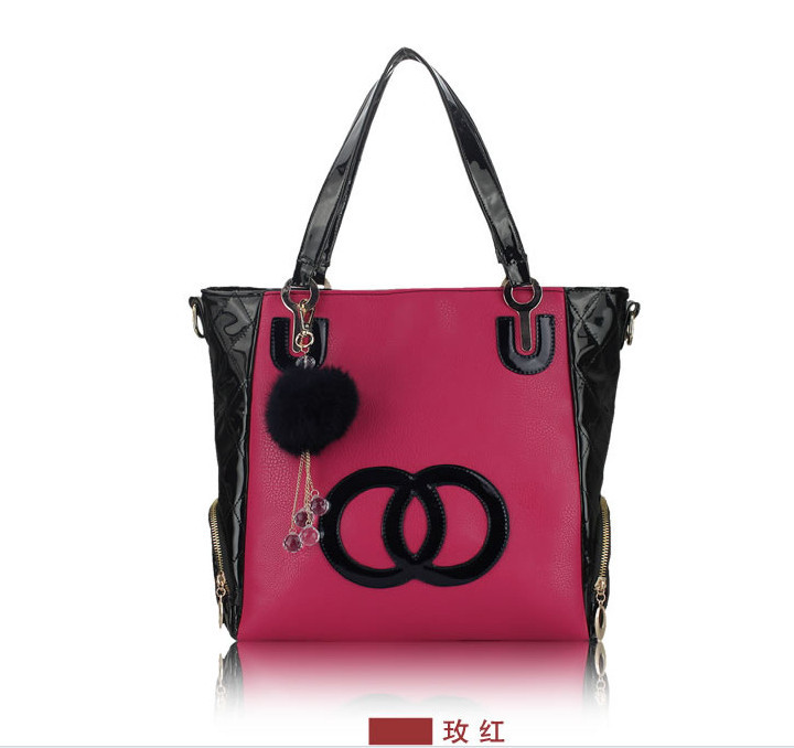 2013 new shoulder bag bicyclic bag ladies bags full quality imported PU handbags(China (Mainland))