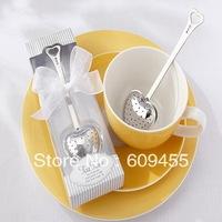 "FREE SHIPPING+""Tea Time"" Heart Tea Infuser Wedding Favors in Elegant White Gift Box(RWF-0072-1P) +100sets/Lot"