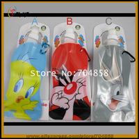 Free Shipping! Outdoor sport portable folding cartoom water bottle/foldable water bottle  water bag 480ml 30pcs/lot