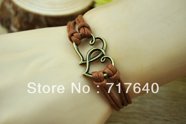 Free Shipping!12pcs/Lot! New Design Antique Bronze Double Heart Charm Bracelet Leather Cord 2013 Trendy Men's Hancraft Jewelry(China (Mainland))